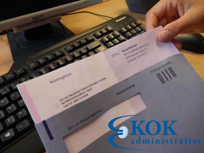Brief van het belastingkantoor van Amsterdam